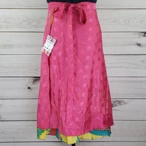 Darn Good Yarn Sari Silk Wrap Skirt Ankle XL